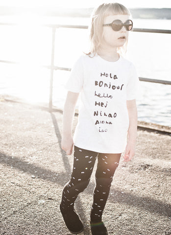 Fin t-shirt Hola Bonjour by Beau LOves - white