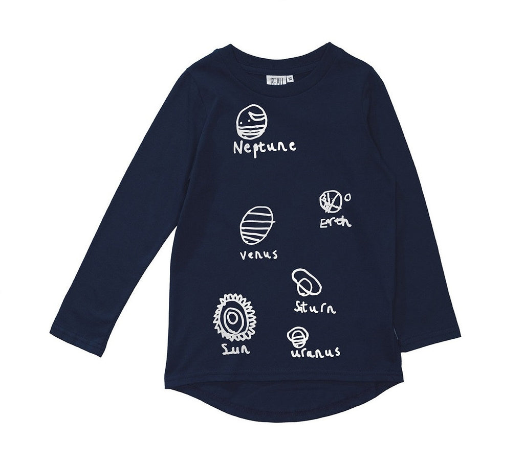 Beau LOves - Fin tee Planets - Midnight Blue