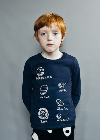 Fin tee Planets by Beau LOves - Midnight Blue