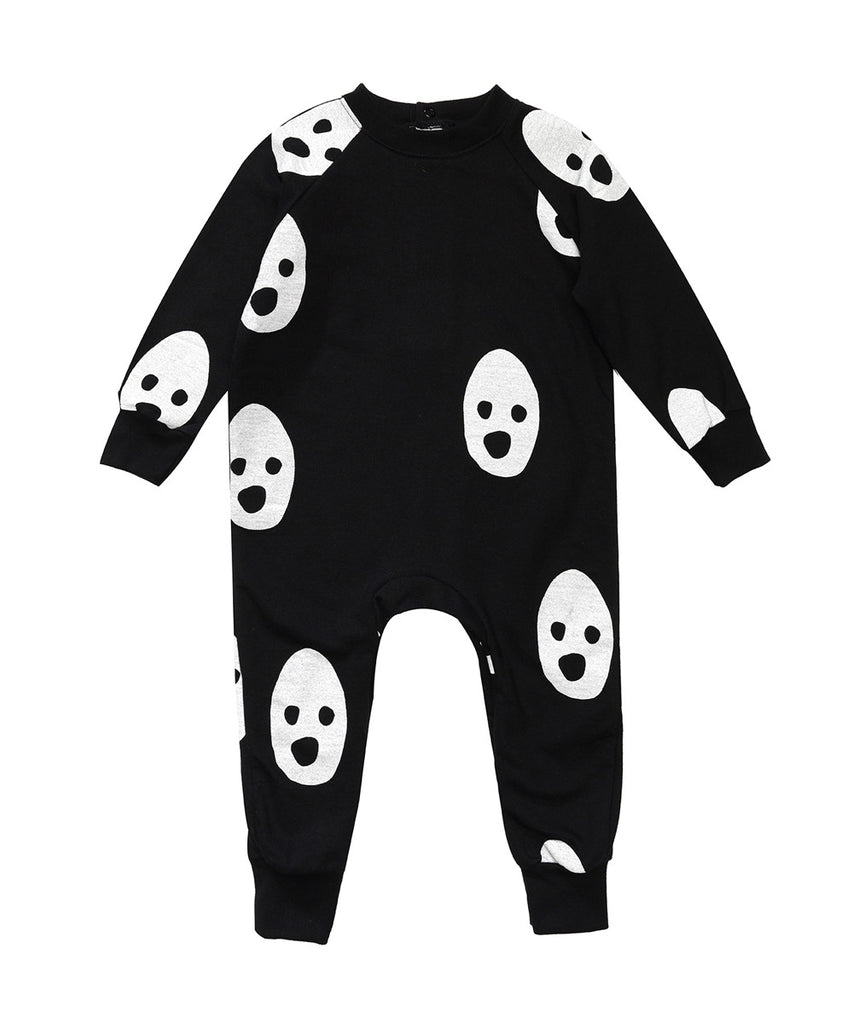 Beau LOves - Raglan romper Ghosts - Jet Black