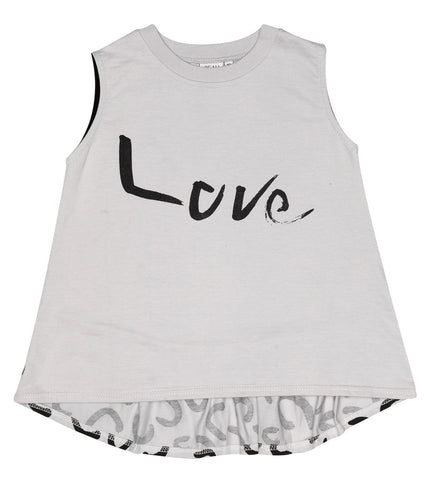 Sleeveless top frill back Love by Beau LOves - grey