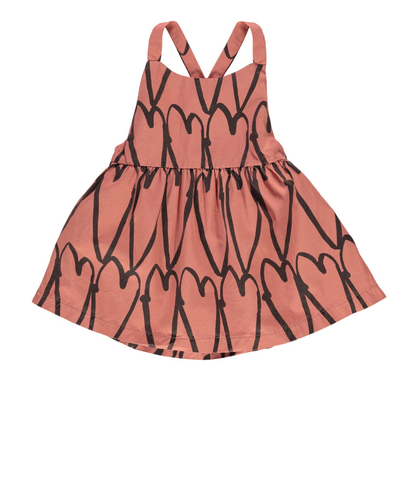 Beau LOves - baby dress Lovehearts - coral