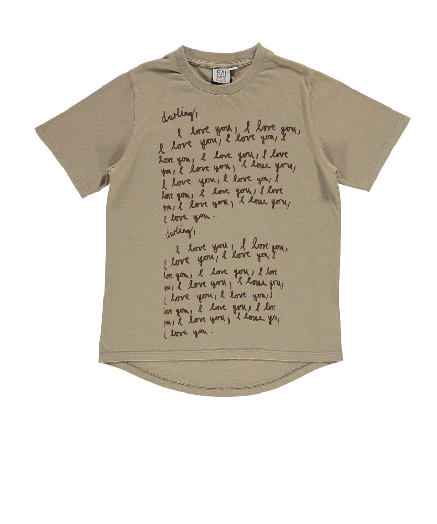 Beau LOves - fin t shirt Darling I Love You - olive green