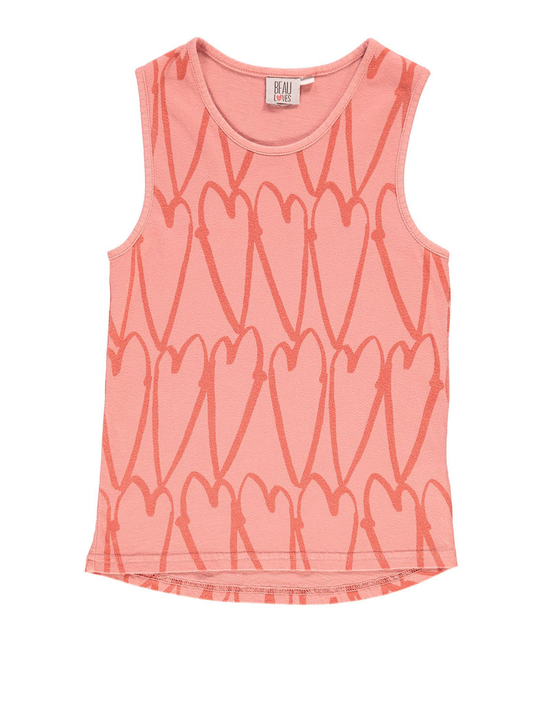 Beau LOves - racer vest Lovehearts - coral