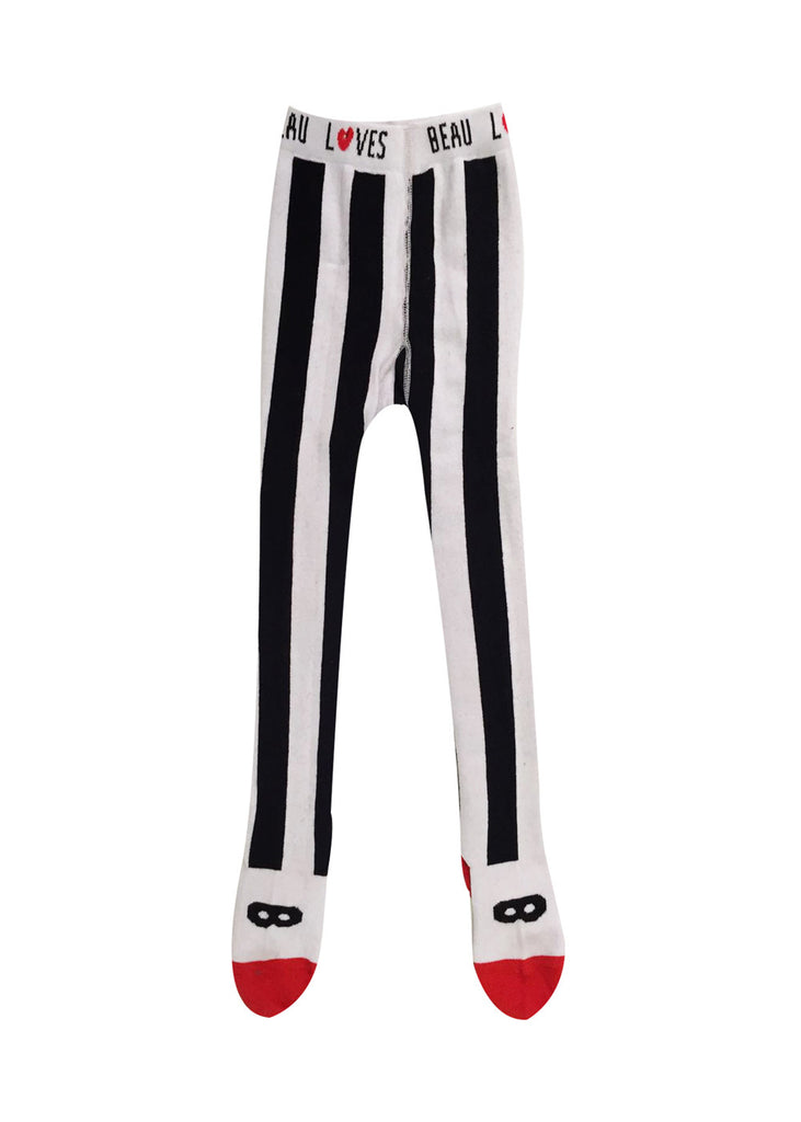 Beau LOves - striped tights - black white