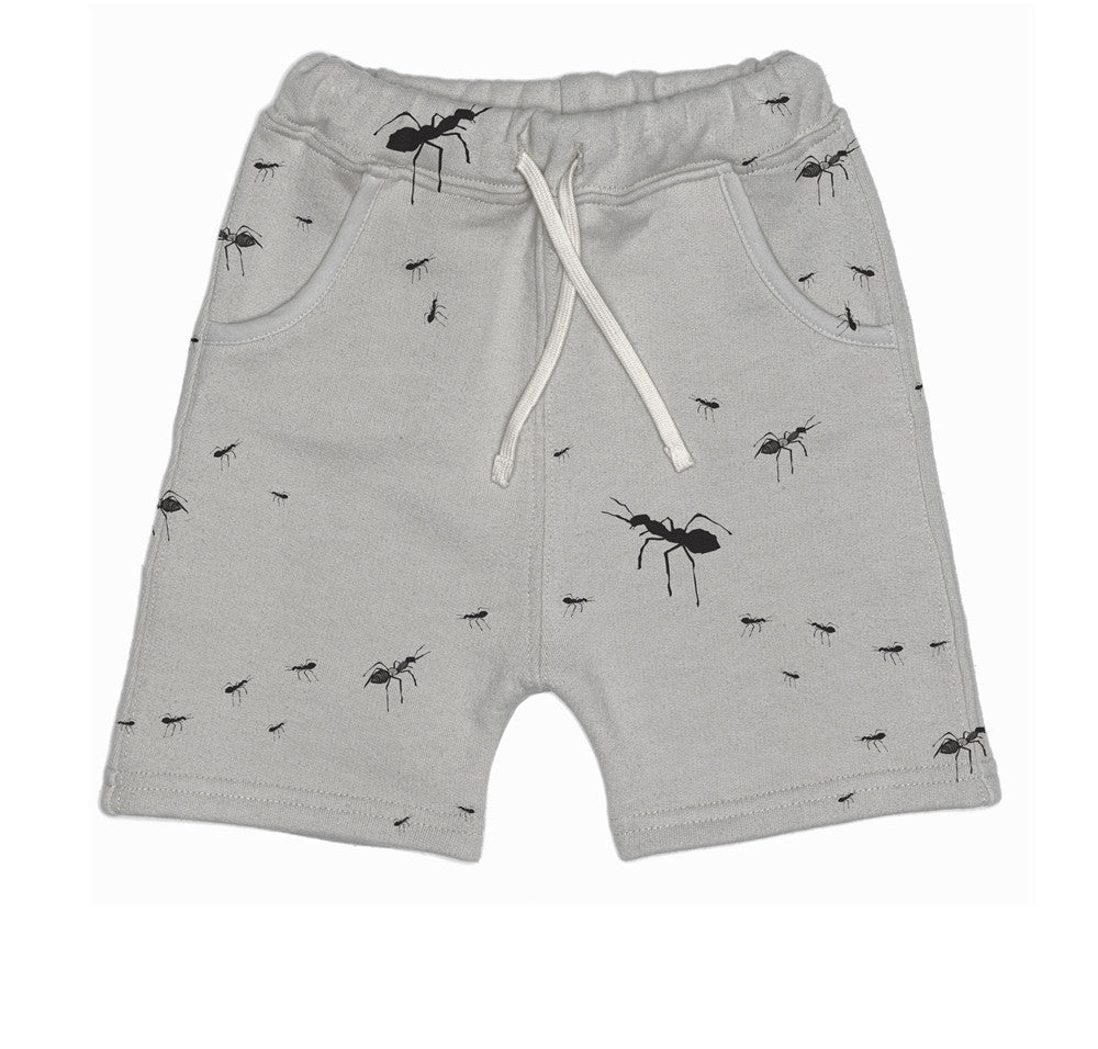 Beau Loves SS15: Looper Low Shorts Grey Ants Illustration