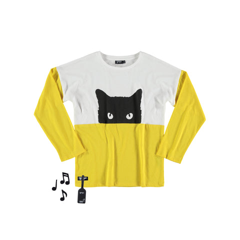 Cat Tee White Yelow by Yporqué