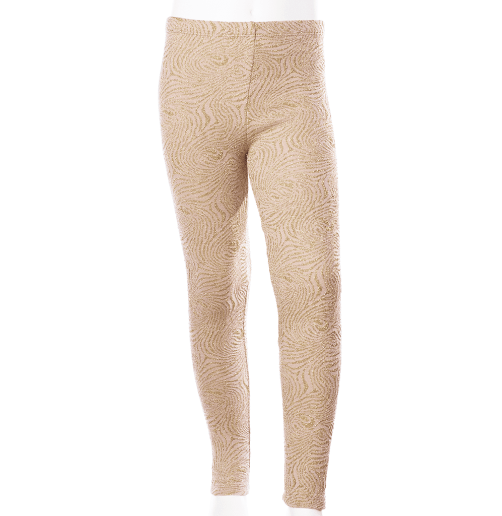 Come Noon - leggings with embroideries Anna - soft pink & gold-min