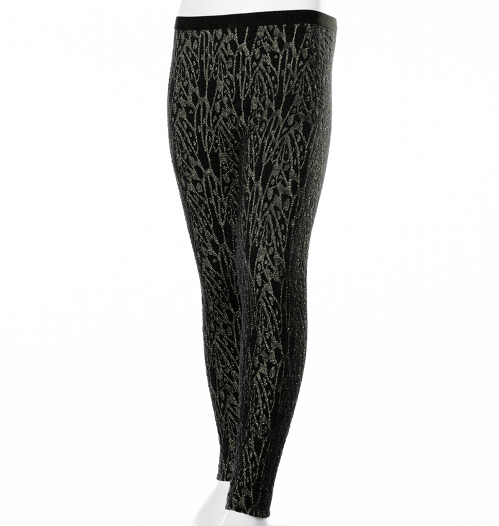 Come Noon - leggings with embroideries Kaya - black & gold-min