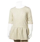 Come Noon - wave top with embroideries Lilli - white & gold-min