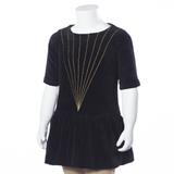 Come Noon - wave top with embroidery Charlize - black & gold-min