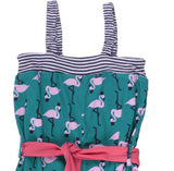 Green Cotton: Girls Flamingo suit - detail