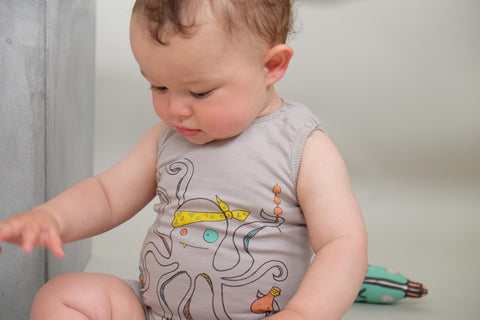 Octopus romper Poke by Indikidual - grey