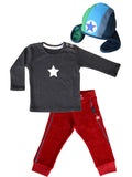 KIK-KID: terry pants + pilot hat and Molo Kids basic tee