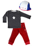 KIK-KID: terry pants + pilot hat girl and Molo Kids basic tee