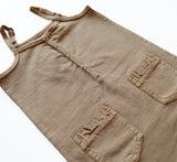 KIK-KID SS15: Organic baby dress in washed jersey brown - detail