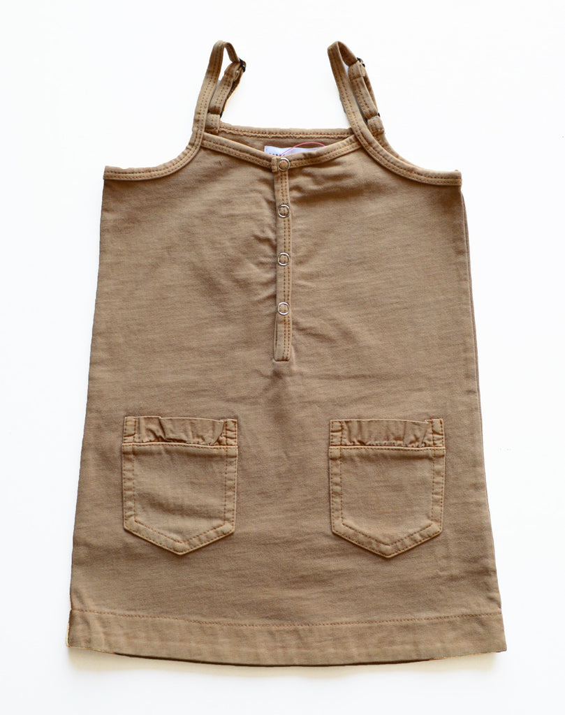 KIK-KID SS15: Organic baby dress in washed jersey brown