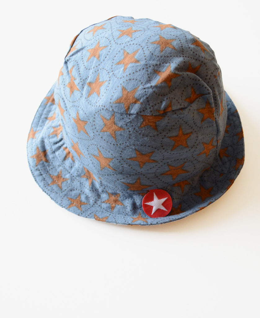 KIK-KID: organic baby hat Jersey Star blue-grey and brown