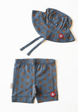 KIK-KID: organic baby hat and shorts - Jersey Star blue-grey