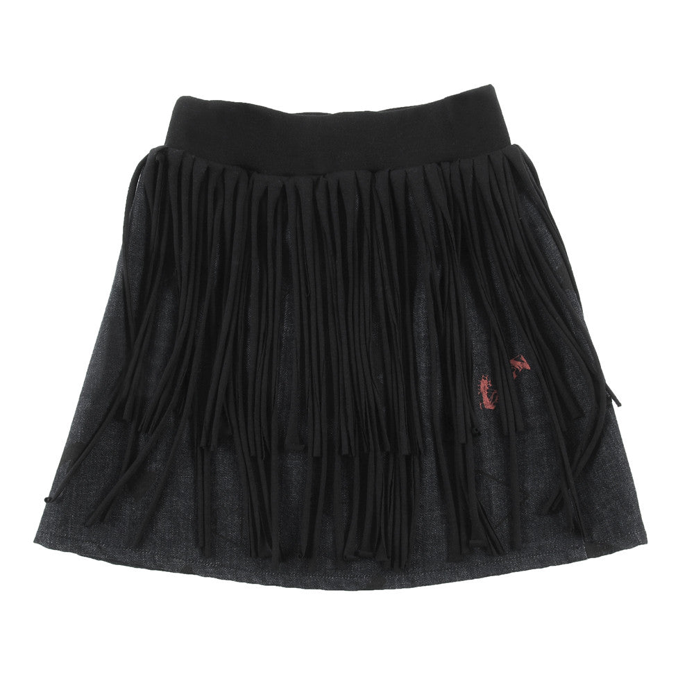 Loud Apparel - denim skirt with fringes Mercy