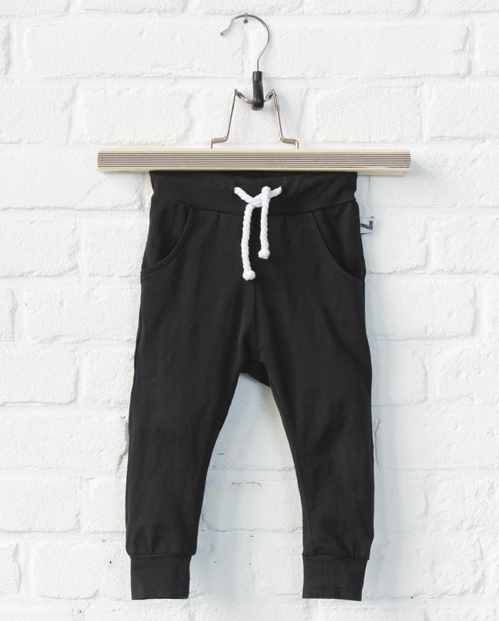 Lucky No. 7: Little Black Baggy pants - organic baby clothes