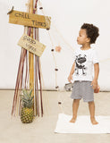 Lucky No 7: funky gecko tee and scribble shorts - organic baby clothes