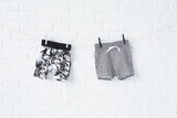Lucky No 7: Organic Scribble shorts and Palm shorts