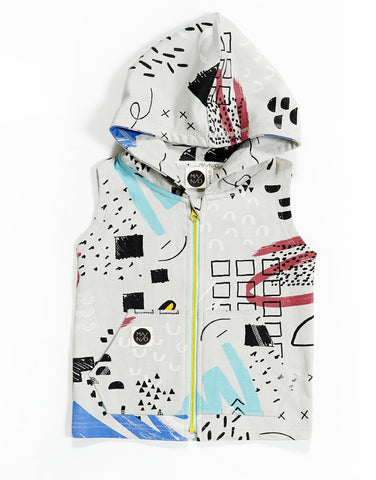 Kids sleeveless hoodie Sketchbook by Mainio Clothing