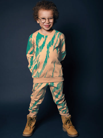 Kids slim fit sweatpants by Mainio Clothing - camel-teal