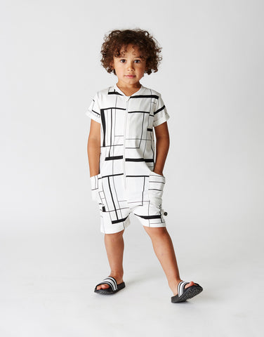 Kids short onesie Lines by Mainio Clothing