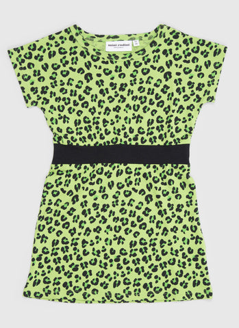 Girls green Leopard dress by Mini Rodini