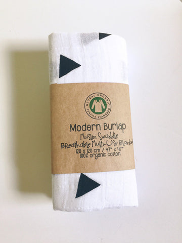 Baby muslin swaddle blanket Triangle by Modern Burlap