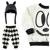 Nobodinoz - Baby sweatshirt Happy, black scale pants and wolf hat