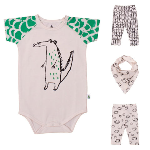 Baby raglan body Green Croco Bunny by Noé & Zoë