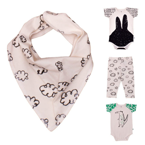 Baby scarf Black Clouds by Noé & Zoë - off white