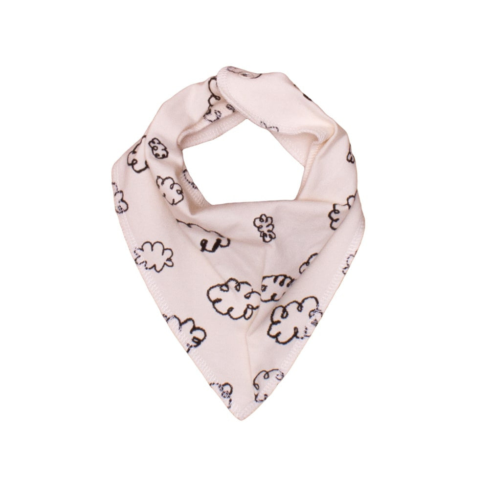 Noé & Zoë - Baby scarf Black Clouds - white