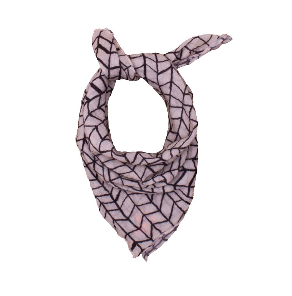 Noé & Zoë - neckerchief Black Wave Grid