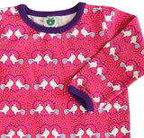 Småfolk: Pink baby tee with dove print - detail