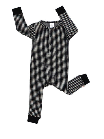 Baby onepiece Easy Houndstooth by Tinycottons - beige/black