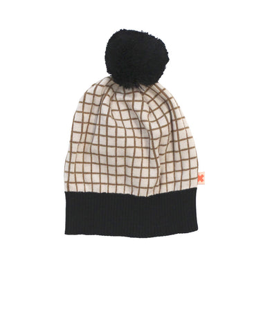Knitted grid beanie by Tinycottons - beige