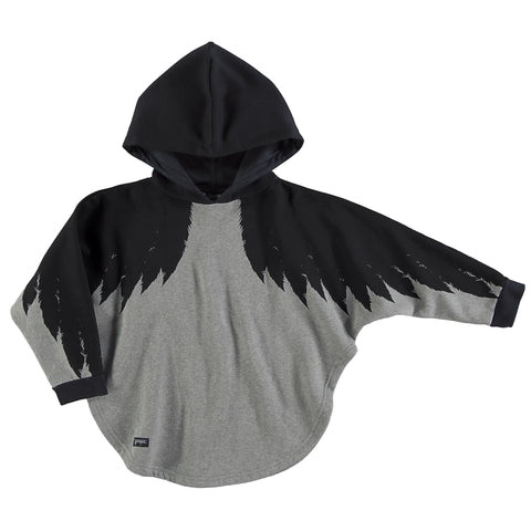 Wings hooded poncho melange black by Yporqué