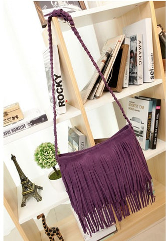 Tarla - Purple - Tassel Suede Bag