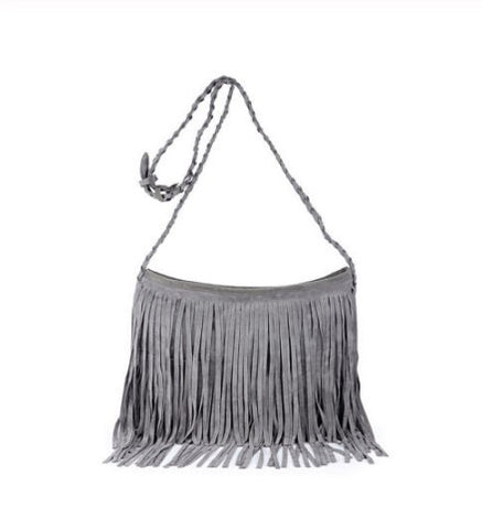 Tarla - Grey - Tassel Suede Bag