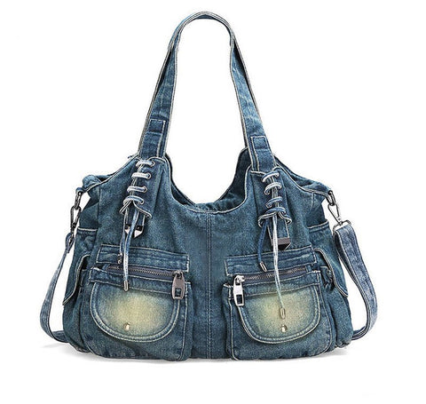 Dixie - Blue - Washed Denim Bag