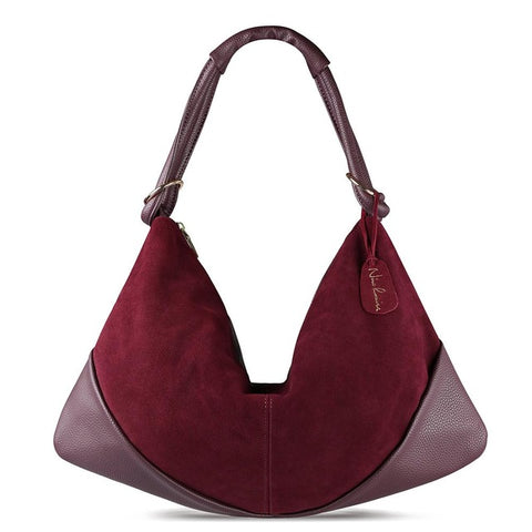 Carla - Burgundy - Suede Leather Handbag