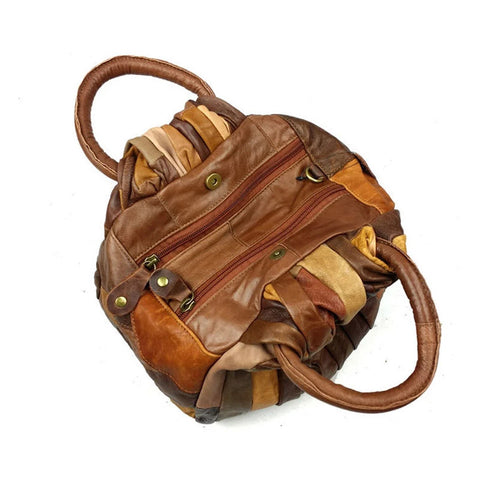 Sofia - Brown - Splice Cowhide Leather Bag
