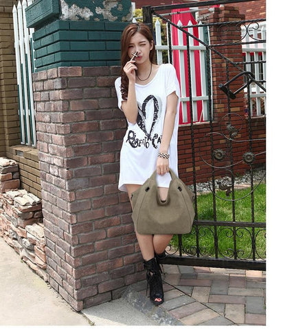 Larissa - Army Green - Casual Canvas Hobo Bag