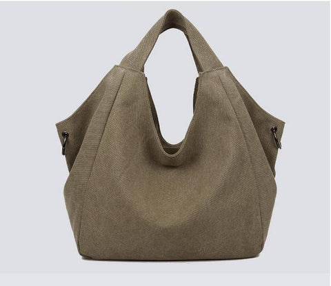 Larissa - Light Coffee - Casual Canvas Hobo Bag
