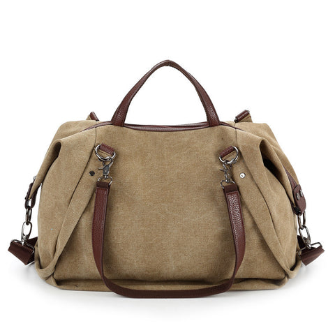 Danielle - Khaki - Large Canvas Bag