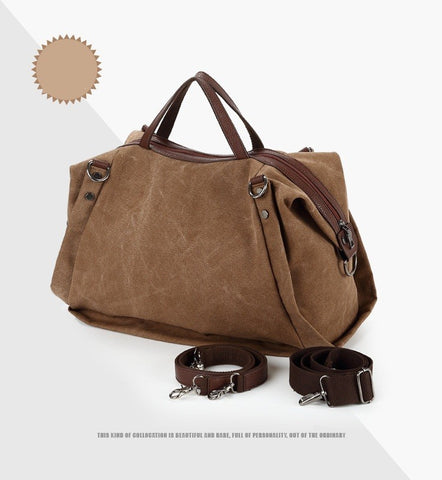 Danielle - Brown - Large Canvas Bag